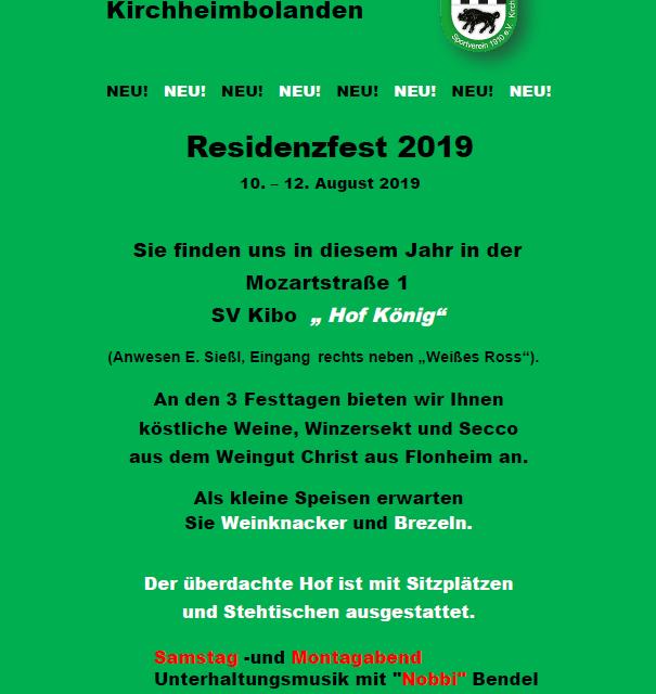 Einladung zum Residenzfest